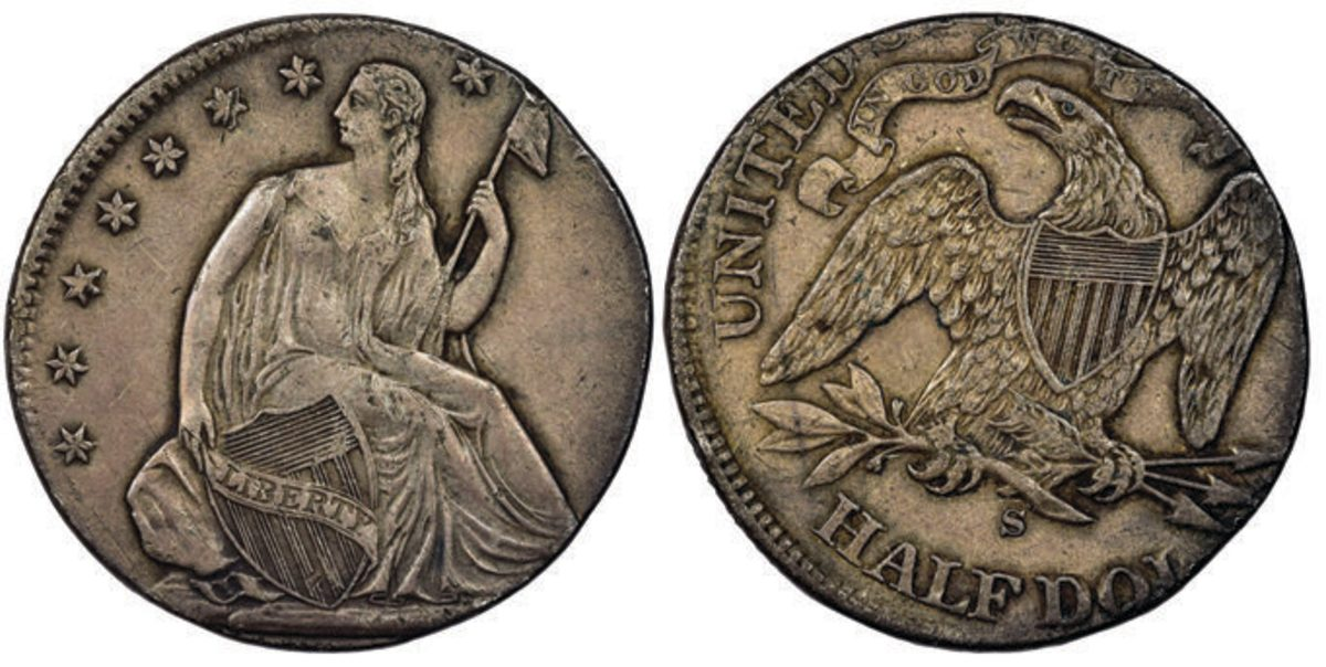 Shown is the (1871-75)-S Half Dollar Struck on a Quarter Planchet, NGC Mint Error AU 50 that realized $51,754. Images courtesy of Numismatic Guaranty Corporation®
