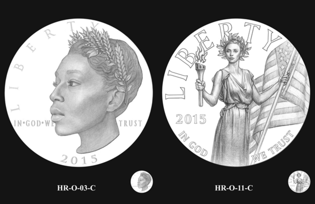 The two obverse designs the CFA recommended to the Secretary of the Treasury.