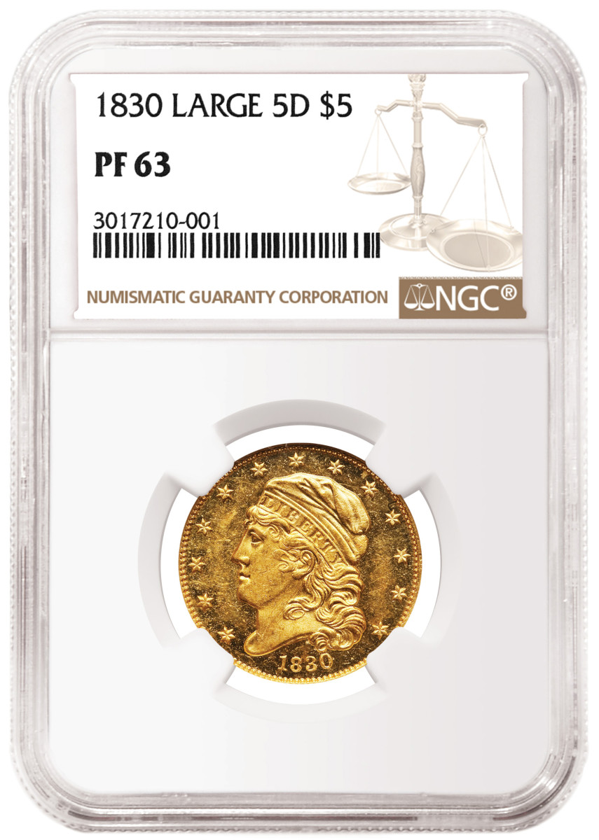 An 1843 Half Eagle graded NGC PF 66 Ultra Cameo realized $312,000.
