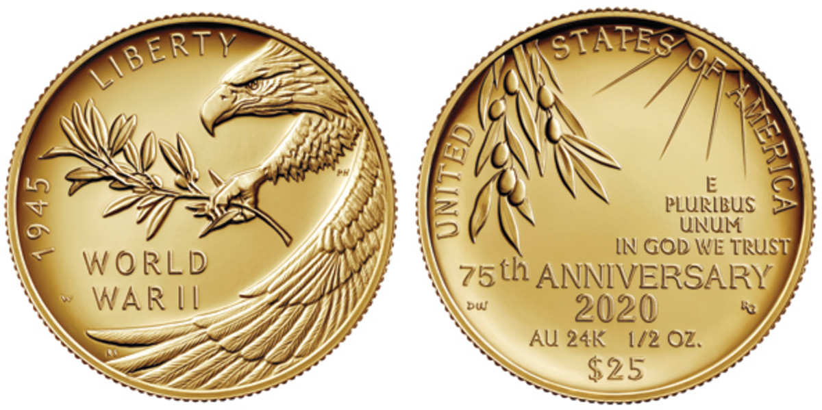 gold coin commemorating end of WWII from the U.S. Mint