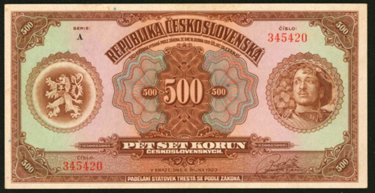 Desirable Czechoslovakian 500 korun of 1923, P-18a, that sold for four times upper estimate, or $40,800, in a remarkable PMG About Uncirculated 55. (Image courtesy Stack's Bowers)