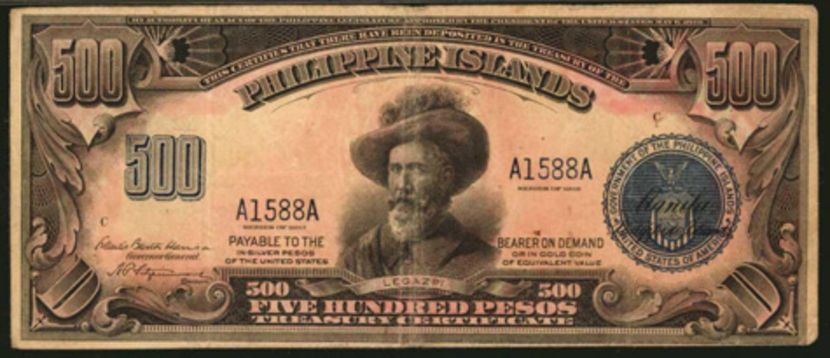 Top-selling Philippine 500 pesos of 1918, P-67, that made $18,000 in PMG Very Fine 30. (Image courtesy Stack's Bowers)
