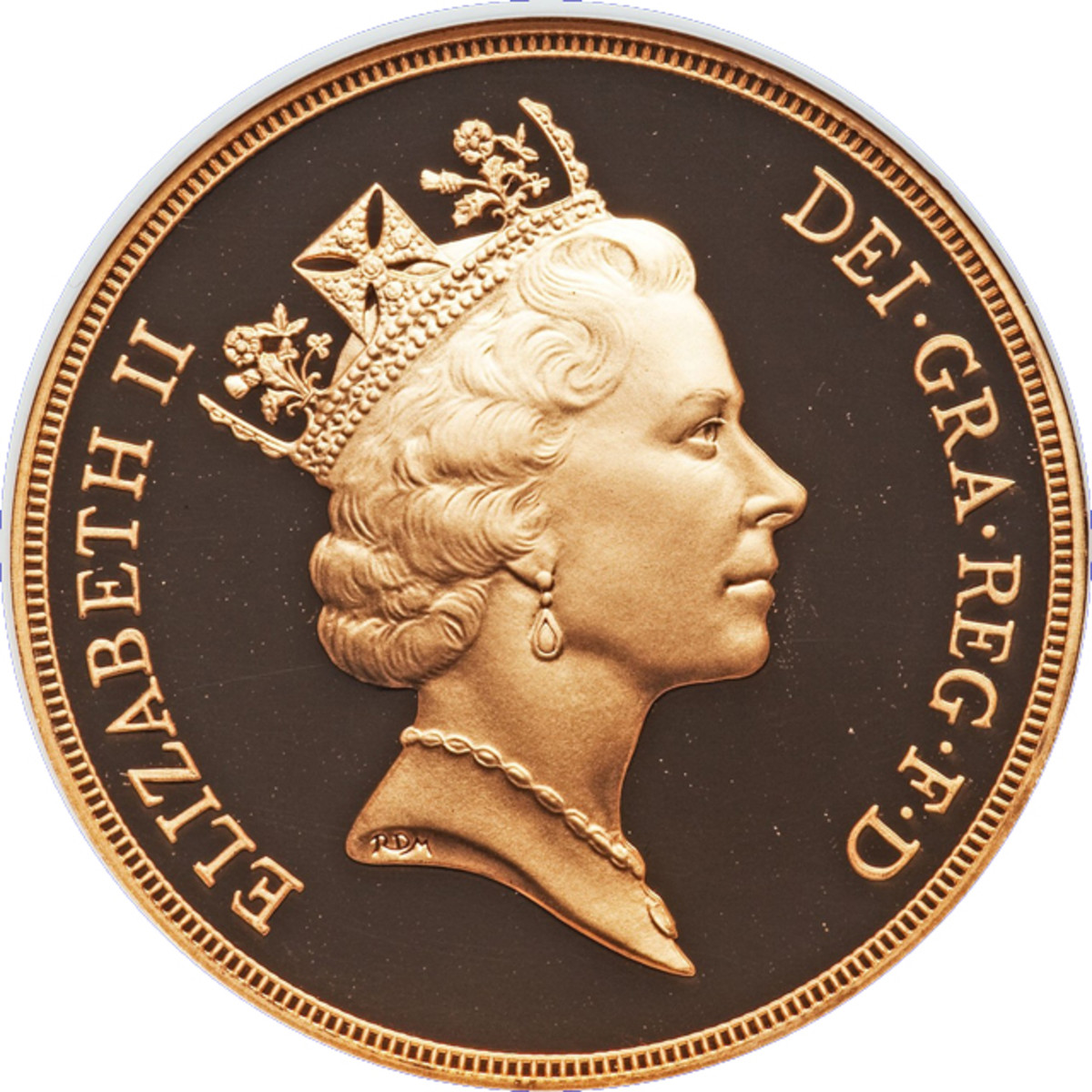 "… ""regal and ageless"": Rafael Maklouf's effigy of Her Majesty shown at left wearing the historic George IV State Diadem. Note the ""RDM"" initials. The ""D"" was added to avoid confusion with Royal Mint if just ""RM"" had been used. Image courtesy & © www.ha.com."