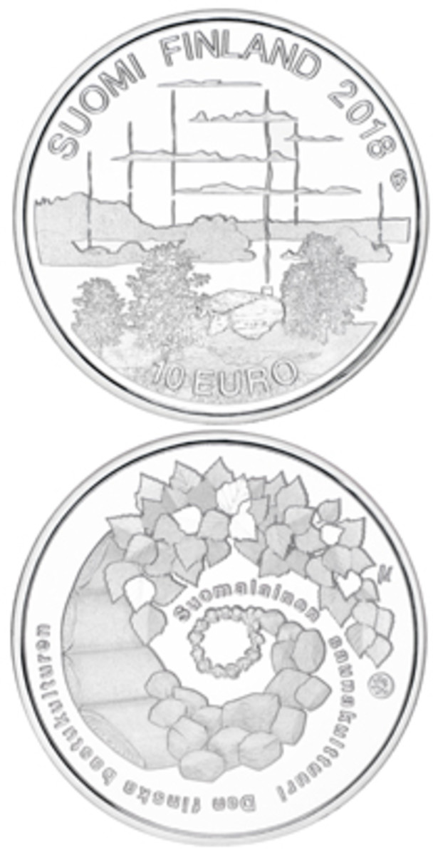 Obverse and reverse of silver 10 euro celebrating the sauna in Finland's culture. (Images courtesy Suomen Rahapaja)