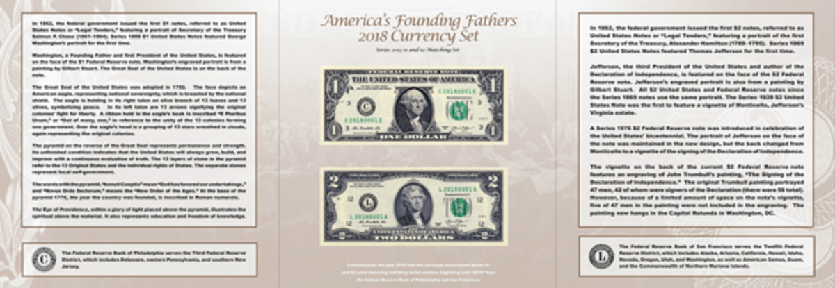 A Series 2013 $1 note from the Federal Reserve Bank of Philadelphia and Series 2013 $2 note from the Federal Reserve Bank of San Francisco are featured in the America's Founding Fathers 2018 Currency Set from the BEP.