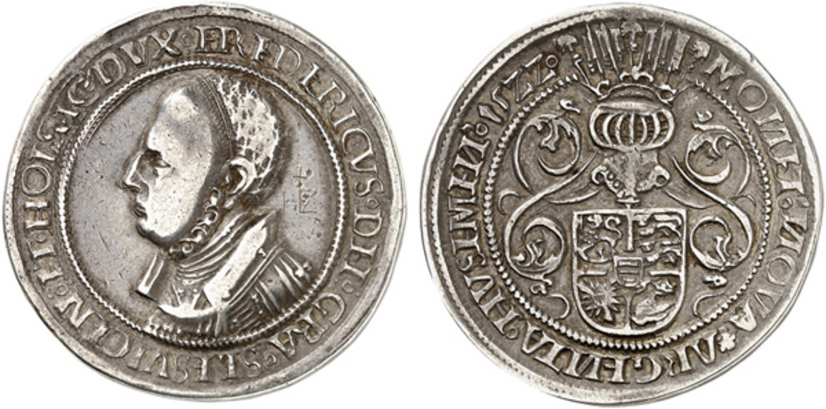 Showcasing Duke Friedrich, this coin is one of the great rarities in numismatics, being the first Danish portrait coin. Struck in 1522, only a few examples of the Husumer taler are known. This one will be sold by Künker Münzauktionen in June as the firm returns to a live auction format. (Images courtesy Künker.)