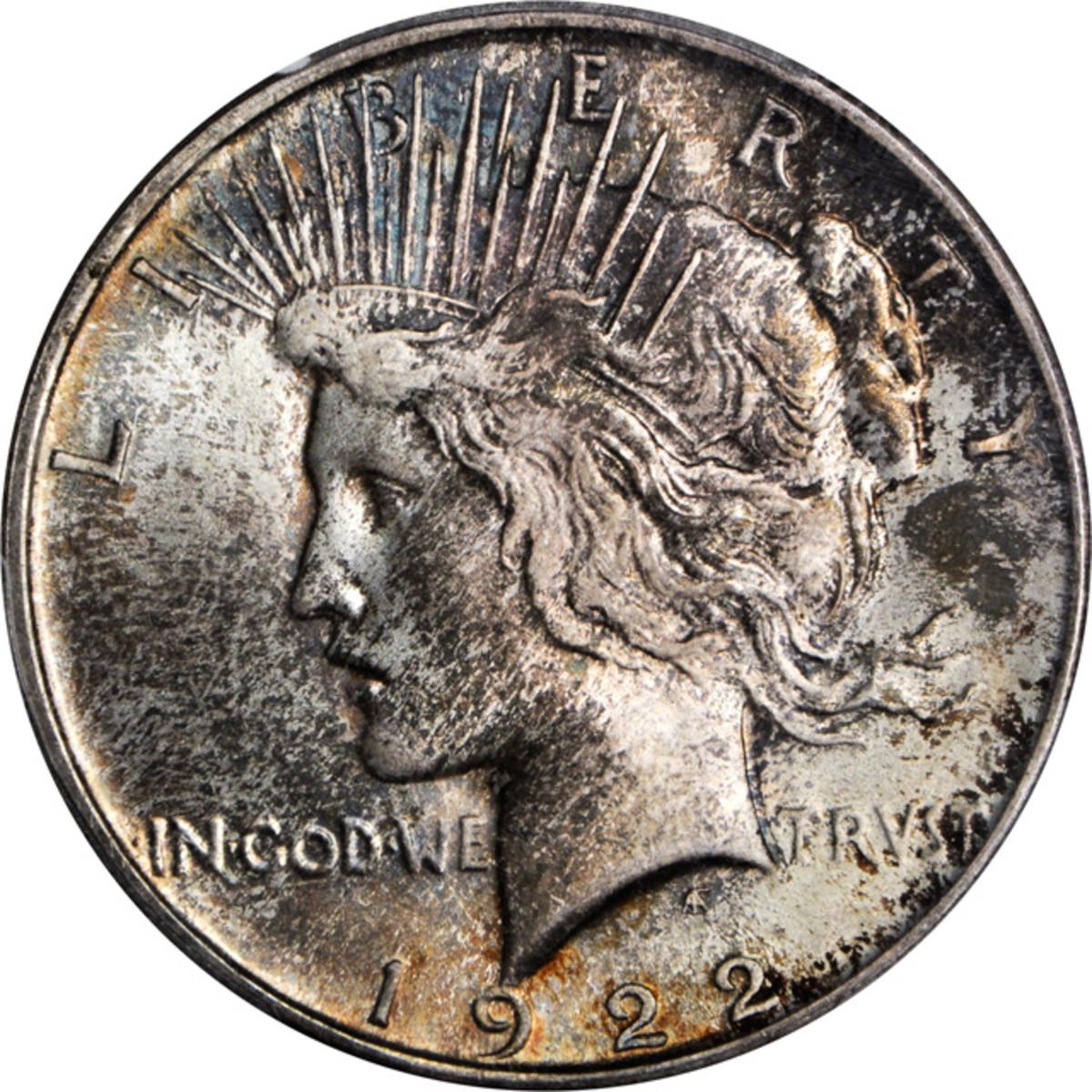 Lot 13169. 1922 Peace silver dollar. Early hub dies. PCGS MS-67). Ex: Raymond T. Baker Estate.