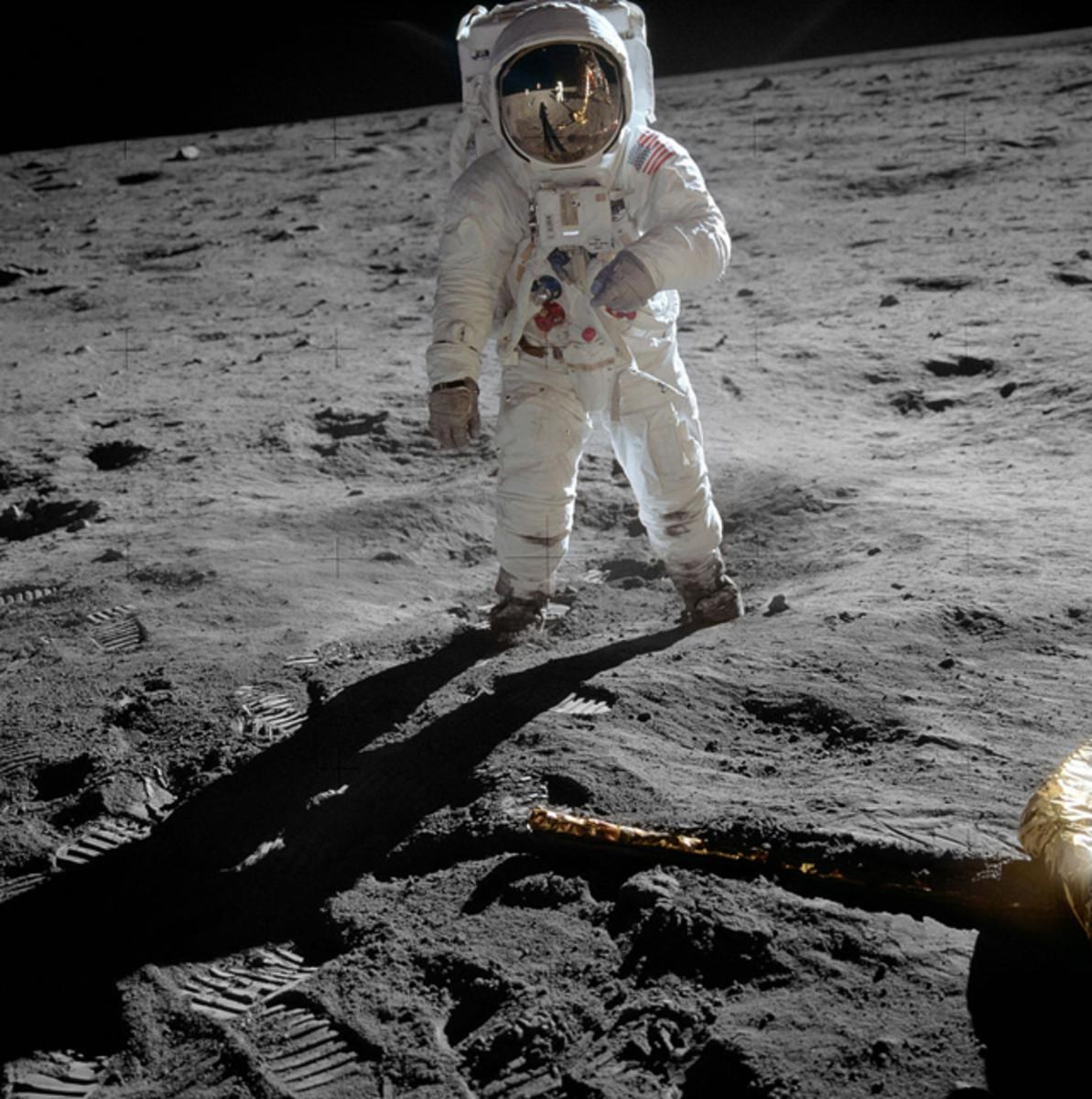 Photo of Apollo 11 astronaut Buzz Aldrin on the surface of the Moon.