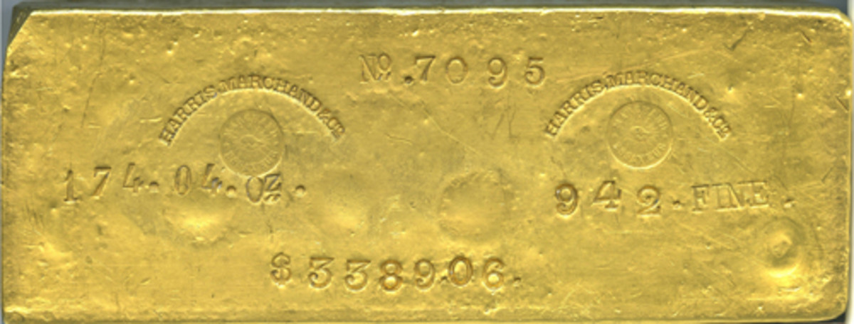 A very large size 174.04-ounce Harris, Marchand & Co. gold ingot earned the top bid of $528,000 in Heritage Auctions' recent Long Beach Signature Sale. (Image courtesy Heritage Auctions)