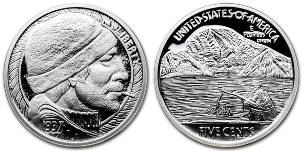 """""""The Fisherman"""" by Mr. The hobo nickel reproduction silver medal."""