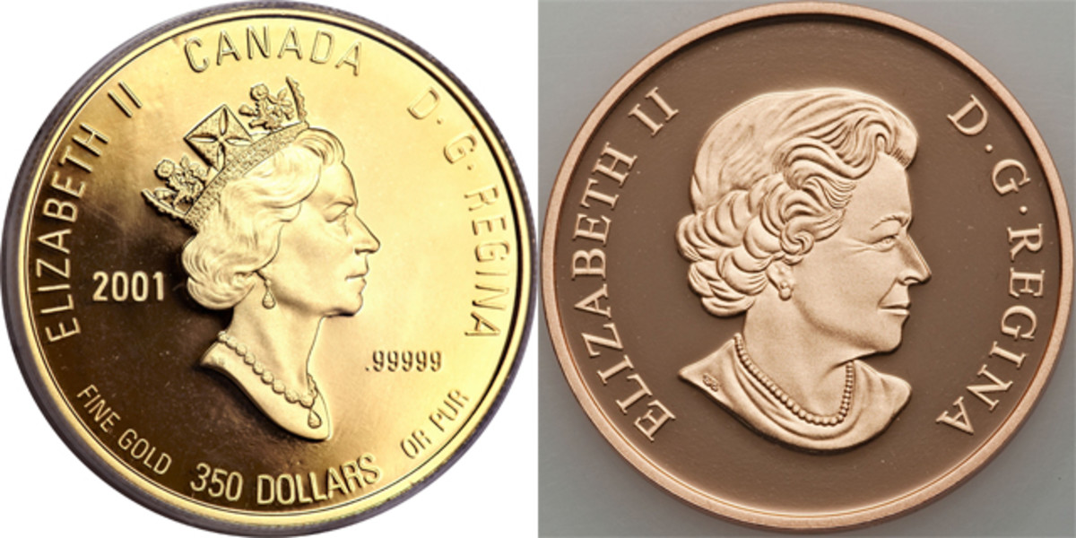 The effigies of the Queen by Dora de Pédery-Hunt, left, and Susanna Blunt, right, used on all Canadian circulating and commemorative coins since 1990.  Image courtesy & © www.ha.com.