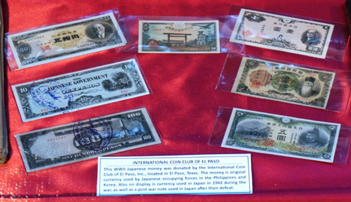 Notes displayed at the USS Lexington Museum in Corpus Christi, Texas, were donated by the International Coin Club of El Paso.