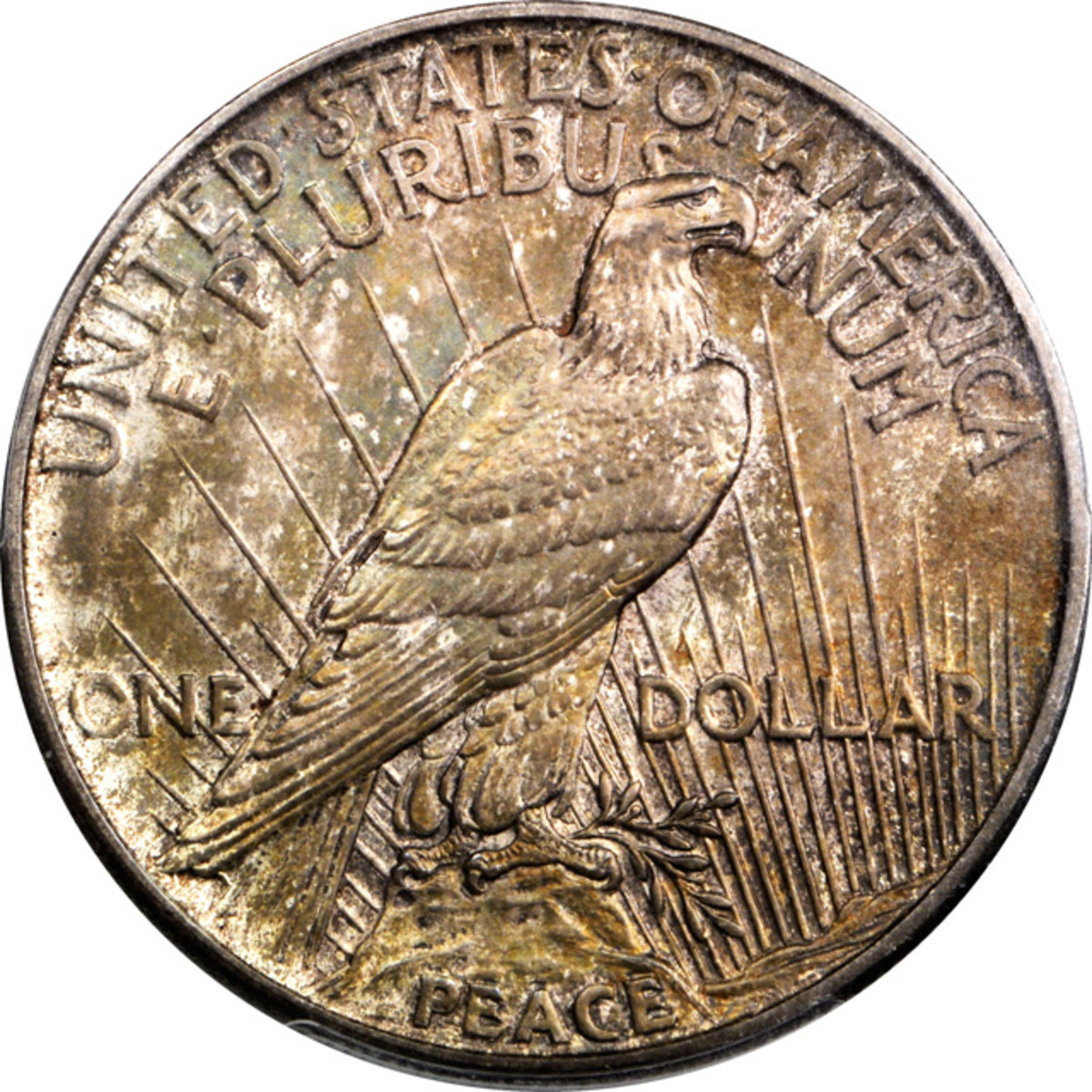 Lot 13167. 1922 Peace silver dollar. Modified High Relief Production Trial. Judd-2020. PCGS Proof-67. Satin Finish. Ex: Raymond T. Baker Estate.