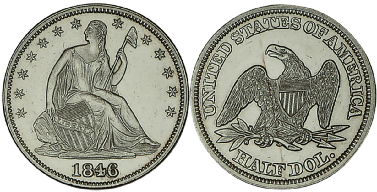 The Seated Liberty design was used on many coins during the 1800s. Today, the half dime to silver dollar series are appreciated for their variety and challenge.