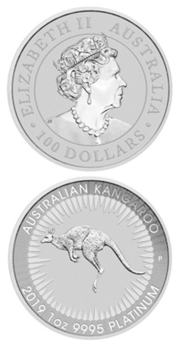 Obverse (featuring a new effigy by Jody Clark) and reverse of The Perth Mint's 2019 platinum bullion $100. (Images courtesy & © The Perth Mint)