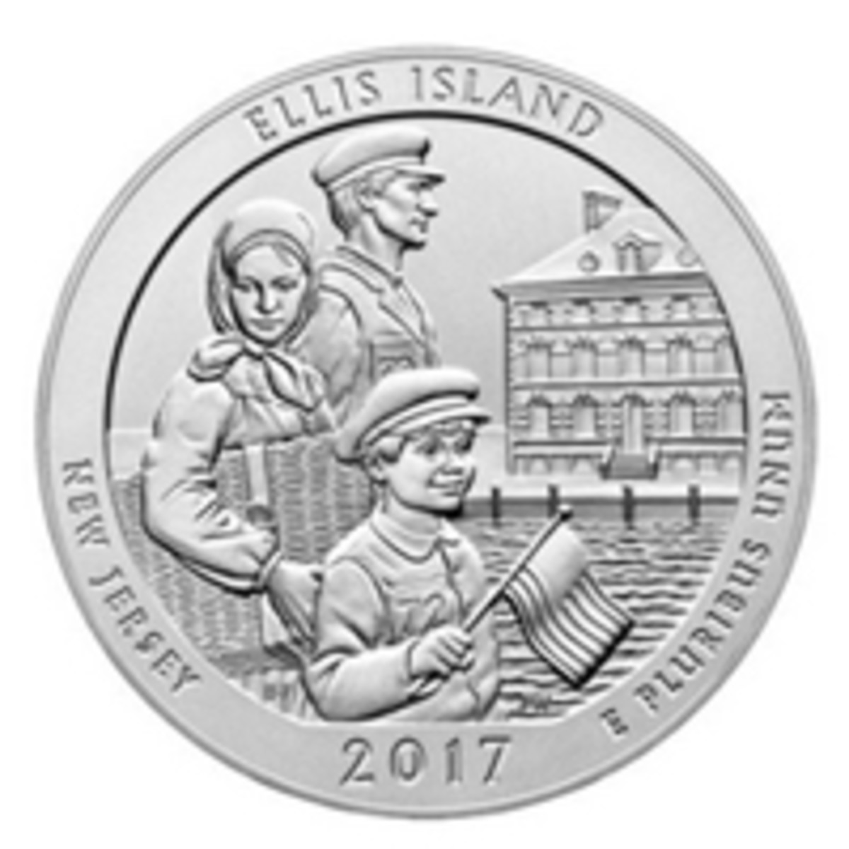 Available at the Long Beach Expo scheduled for Sept. 7-9 will be this five-ounce silver coin honoring Ellis Island.