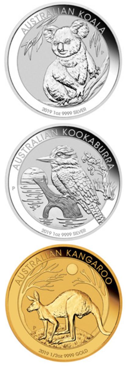 Reverses of The Perth Mint's 2019 silver Koala, silver Kookaburra, and gold Kangaroo bullion coins. (Images courtesy & © The Perth Mint)