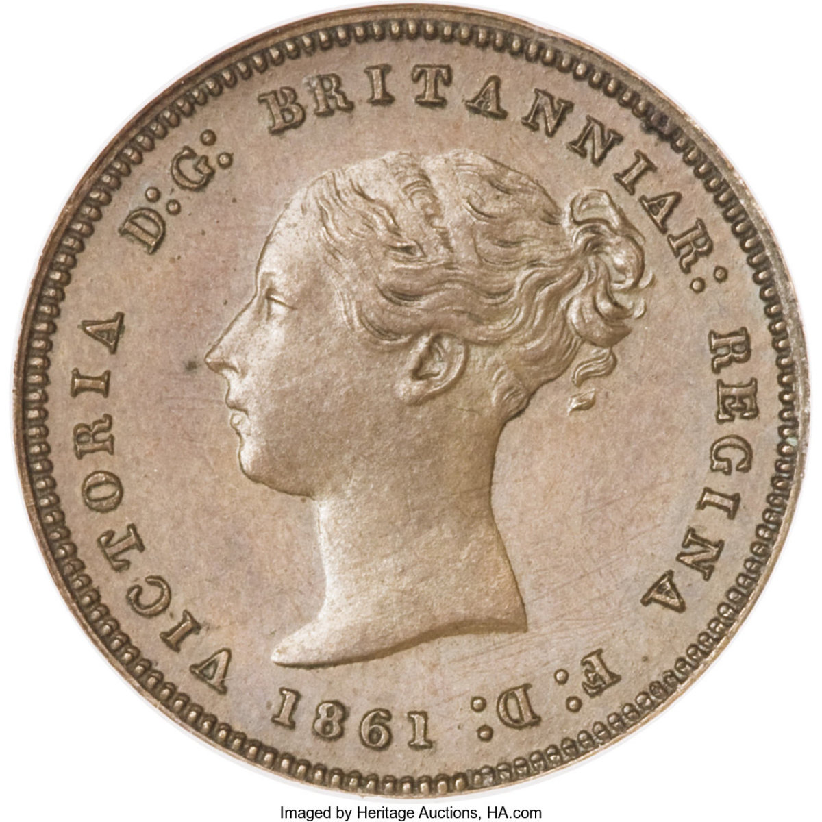 Obverse of 1841 coin featuring the bust of young Queen Victoria. (Image courtesy of Heritage Auctions.)