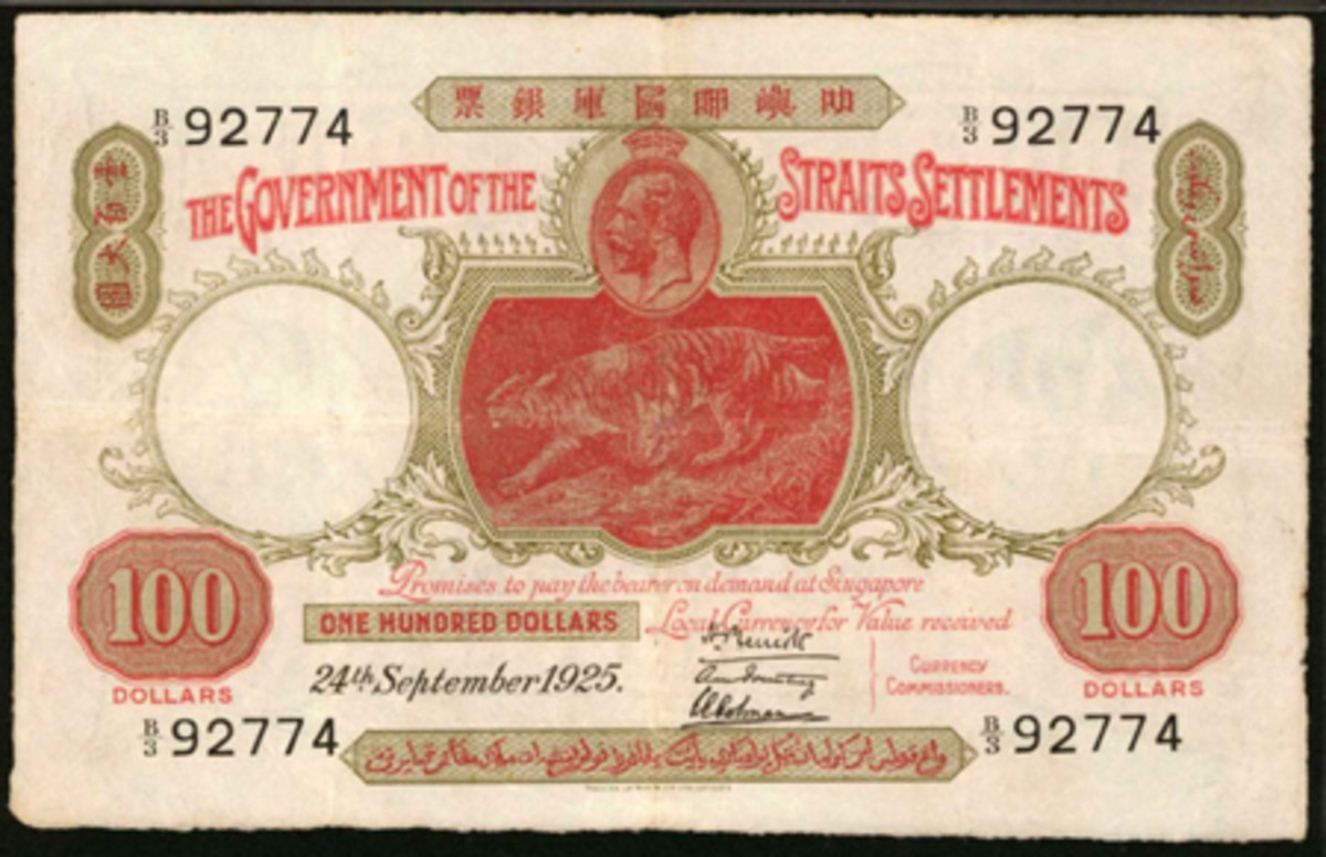 Scarce Straits Settlements $100 of 24 September 1925, P-13, that comes graded PMG-30 Very Fine NET. (Image courtesy Stack's Bowers)
