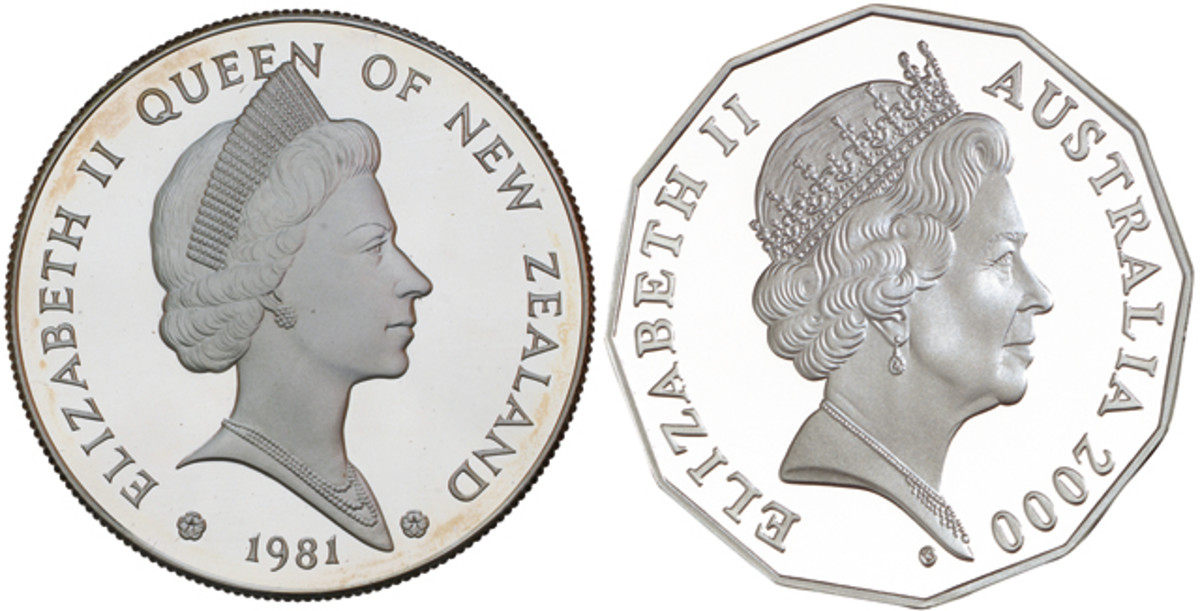 The effigies of the Queen by James Berry, left, and Vladimir Gottwald, right, used New Zealand dollars from 1979-1982 and Australian 50 cents in 2000 and 2010. Images courtesy Noble Numismatics and Royal Australian Mint.