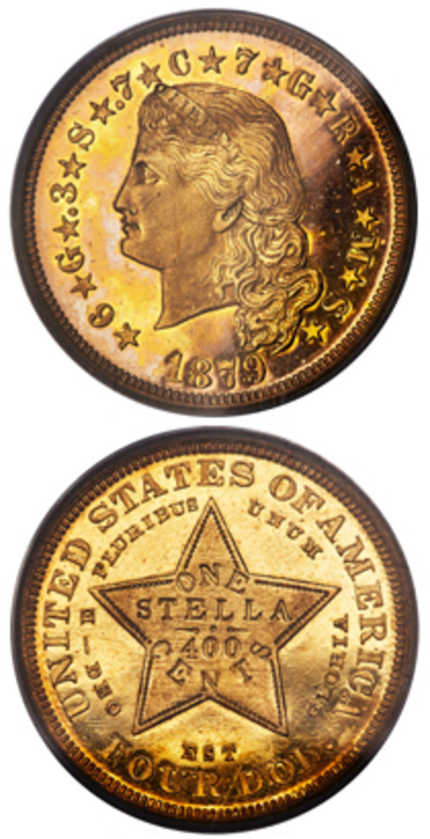 Among coins, the highest price of $210,000 was paid for this 1879 Flowing Hair Stella graded PRF64 Deep Cameo by PCGS.(Images courtesy Heritage Auctions)
