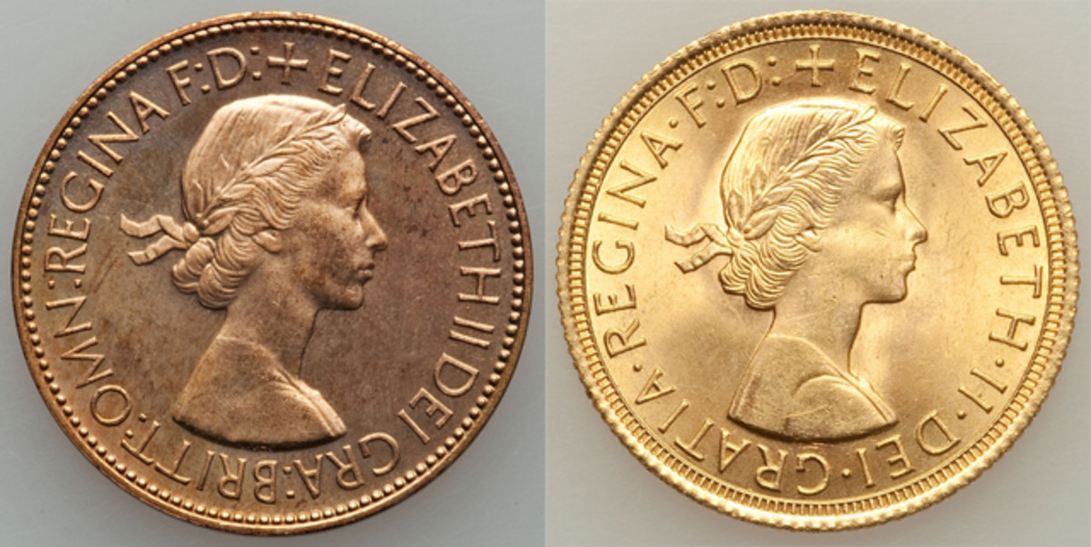 The two versions of the Gillick effigy used on British coins. Left: the Gillick original. Right: as modified by Thomas showing more deeply incised lines particularly of the queen's dress (shoulder seam, neckline) but also aspects of her hair and face. Images courtesy & © www.ha.com.