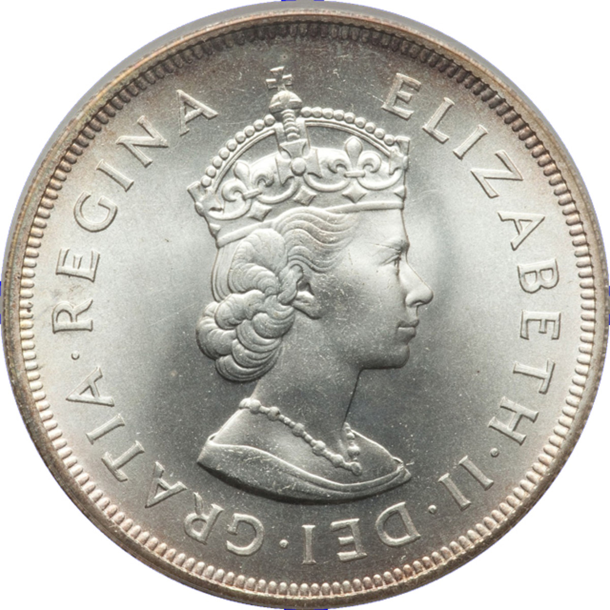 Crowned effigy of Queen Elizabeth by Cecil Thomas used on the coinage of Britain's Crown colonies. The queen wears the stylized heraldic Tudor Crown representative of her authority. Image courtesy & © www.ha.com.