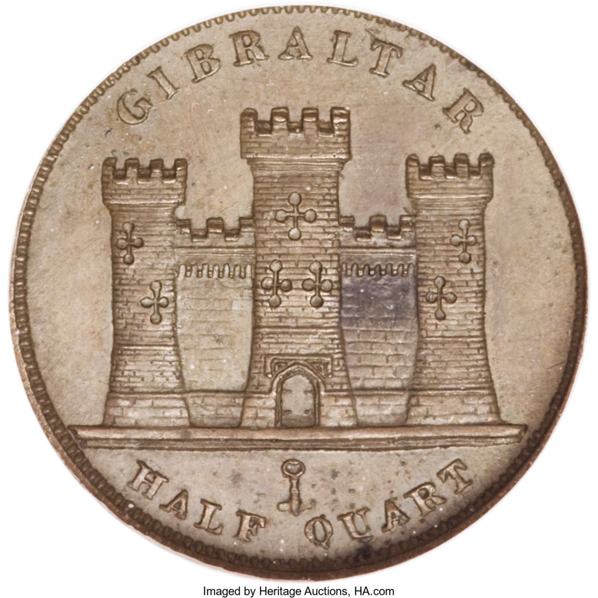 Reverse of 1841 featuring the three towers. (Image courtesy of Heritage Auctions.)