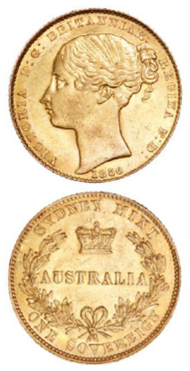 A Type I Sydney Mint 1856 sovereign sold for $39,259 during Roxbury's October sale.