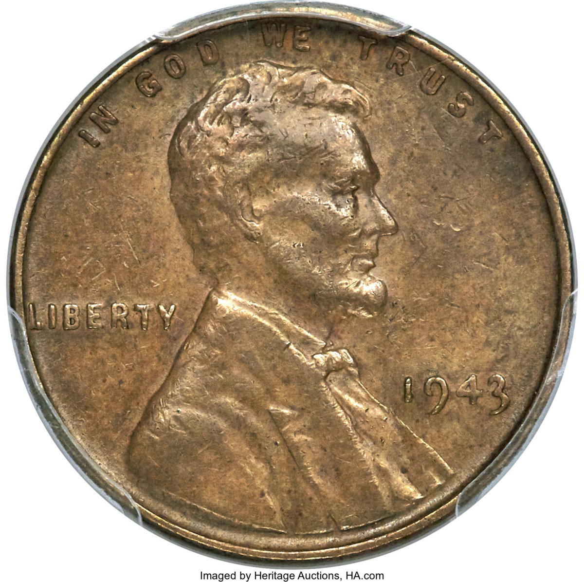 Featured as the top lot, this 1943 Lincoln Cent struck on a bronze planchet realized $186,000. (Image courtesy of Heritage Auctions)