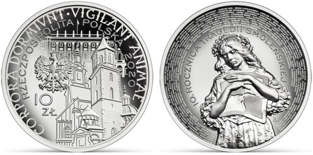 On April 10, 2010, a plane carrying the President of Poland, First Lady and some of the most honorable and influential citizens in the country tragically crashed on landing in Smolensk. None of the 96 people aboard this flight survived. On the 10th anniversary of this tragedy, a beautiful and heartfelt silver coin was struck to honor the fallen. During the pandemic of 2020, this coin was released, just 10 days past its planned time, through the dedicated efforts of the National Bank of Poland. (Images courtesy NBP.)