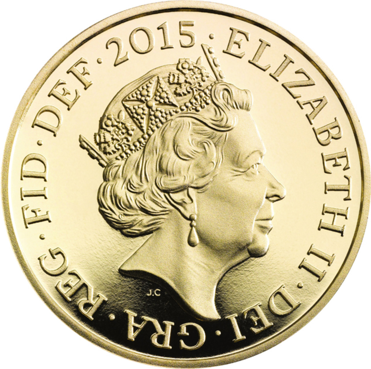 The latest effigy of Queen Elizabeth II by the Royal Mint's Jody Clark and introduced on British coins from the first quarter of 2015. Image courtesy & © Royal Mint.