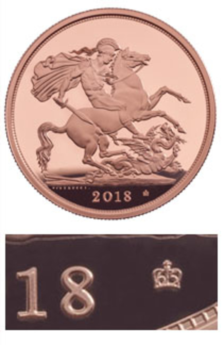 Reverse of 2018 proof sovereign (top) and crown/65 privy mark alongside date (bottom) marking the queen's 65th year on the British throne. (Images courtesy & © The Royal Mint)