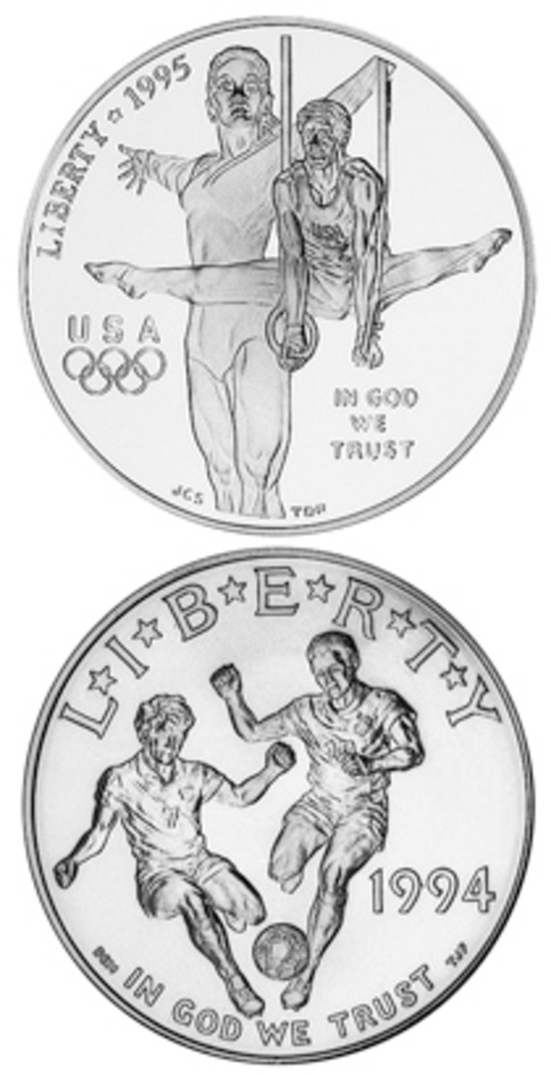Olympic coins and soccer coins depict athletes in action. The United States has emphasized Olympic coins (top), while the rest of the world focuses more on soccer (bottom).
