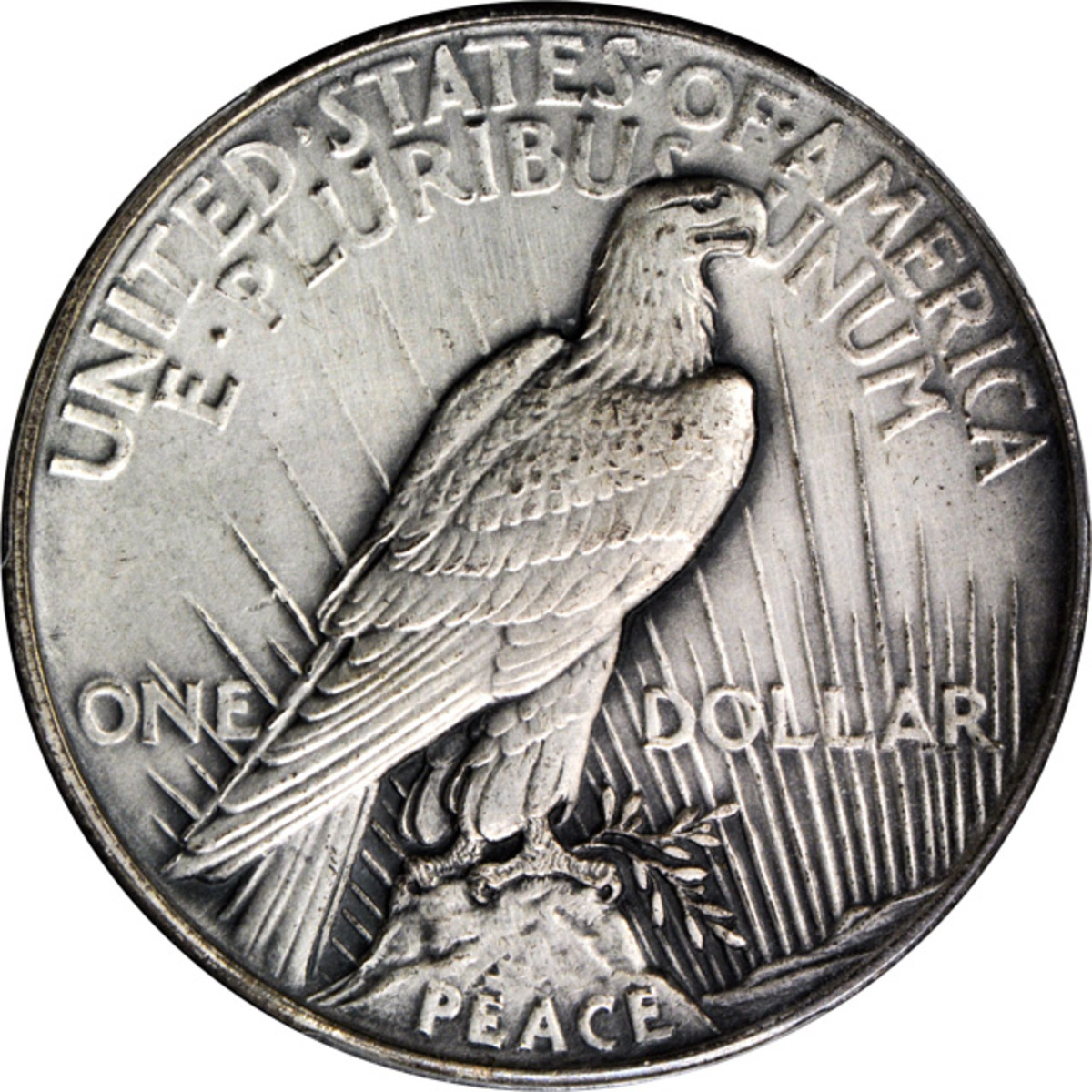 Lot 13166. 1921 Peace silver dollar. High Relief. Sandblast or Matte Finish, Antiqued. PCGS Specimen-64. Ex: Raymond T. Baker Estate.
