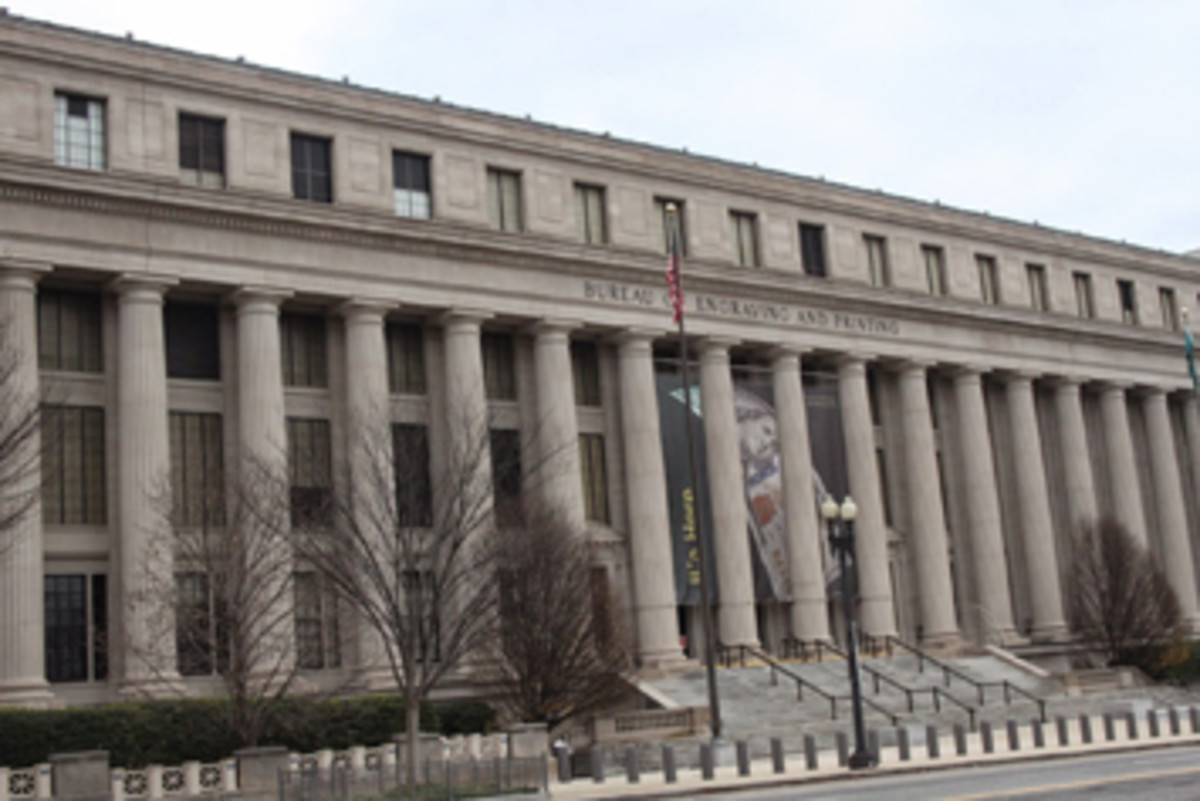 Figure 1. Familiar view of the exterior of the Bureau of Engraving and Printing in Washington, D.C., the place where history is made every day. (Image courtesy TripAdvisor)