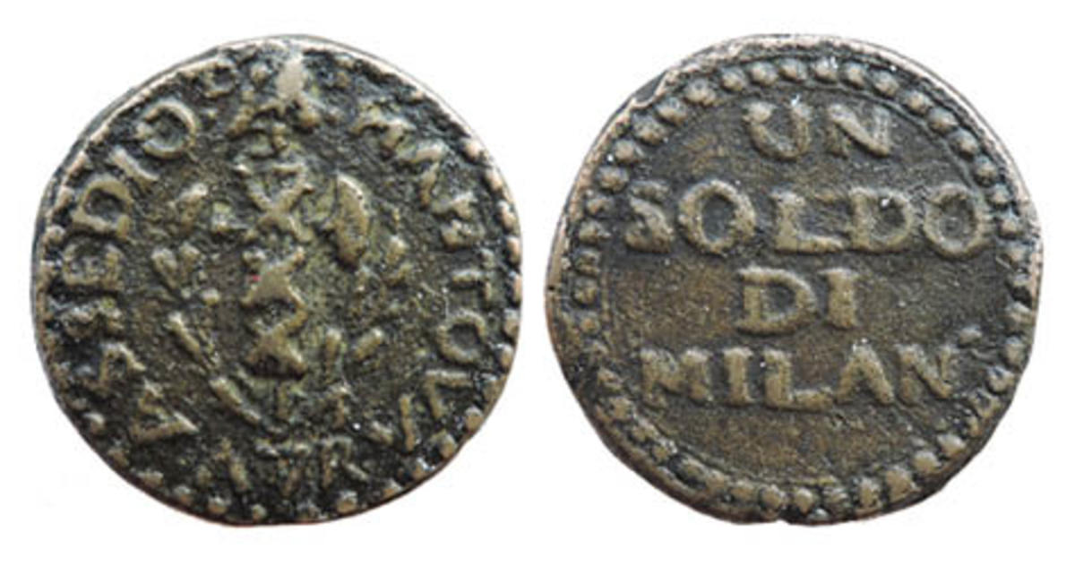 This siege of Mantua coin was cast from bell metal. The obverse has ASSEDIOD-I MANTOVA A7R. (Siege of Mantova, seventh year of the [French] revolution). The Liberty Cap atop the fasces divides DI. The reverse is rotated 90°.On the reverse UN│SOLDO │DI│MILAN°in the field. The attributions are Eklund 210, KM 275 and Neumann I 918. It weighs 15.60 gram with a diameter of 27.49 mm.
