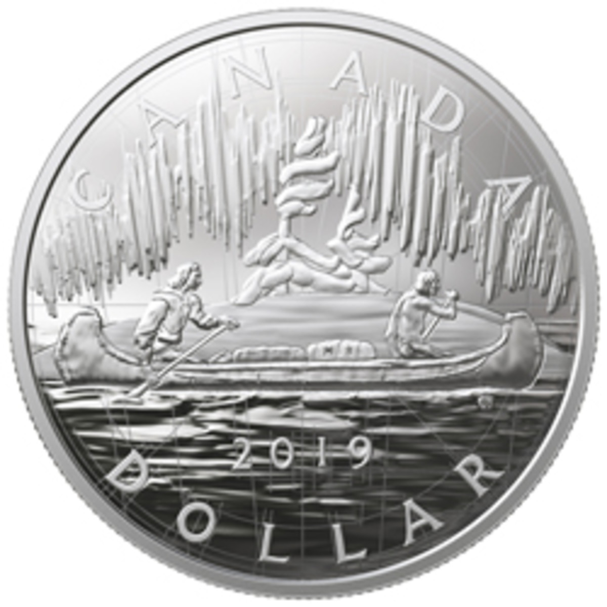 The design of the reverse of this large silver 2019 25 cents is based on preliminary sketches of Emanuel Hahn for his Voyageur silver dollar of 1935. (Image courtesy of Royal Canadian Mint)