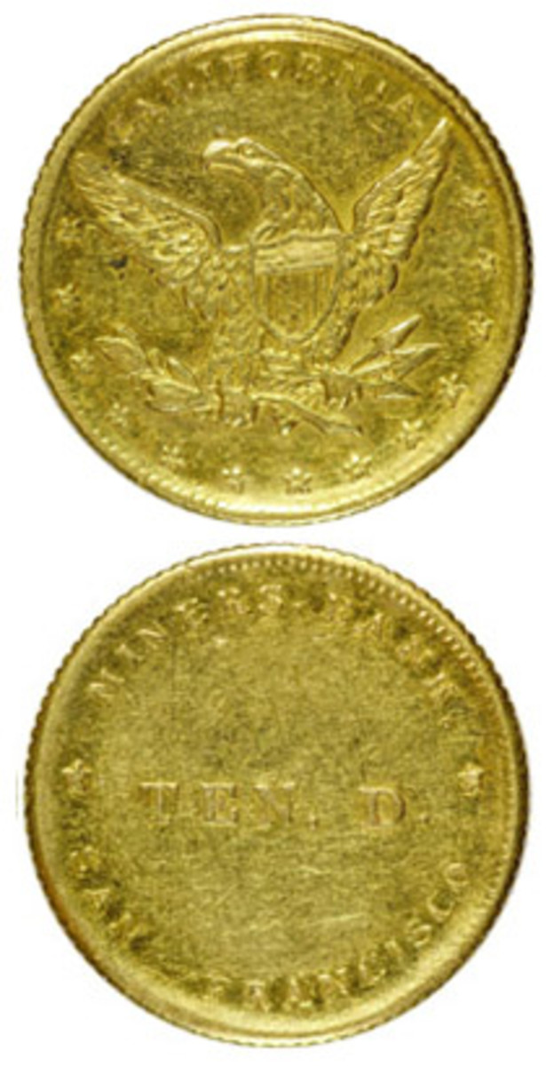 Lot 1073, Miners' Bank $10 gold piece.