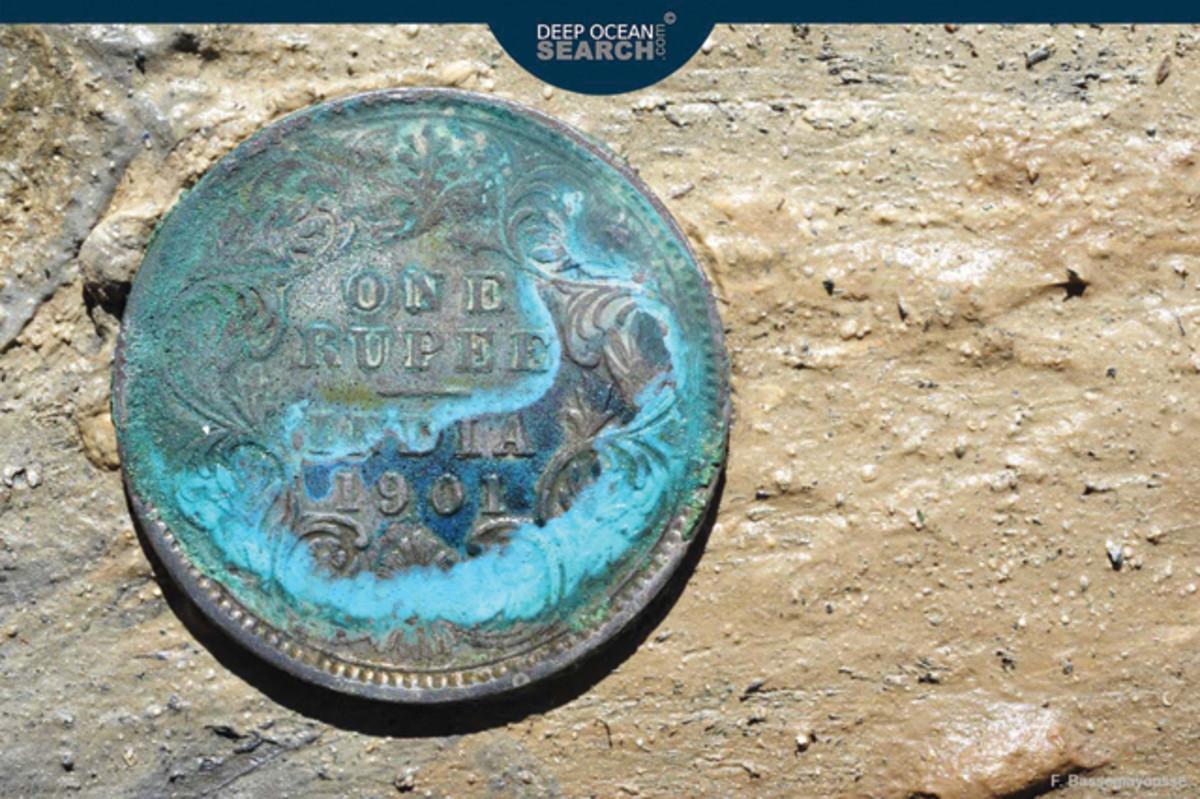 Sunken treasure included this silver rupee.