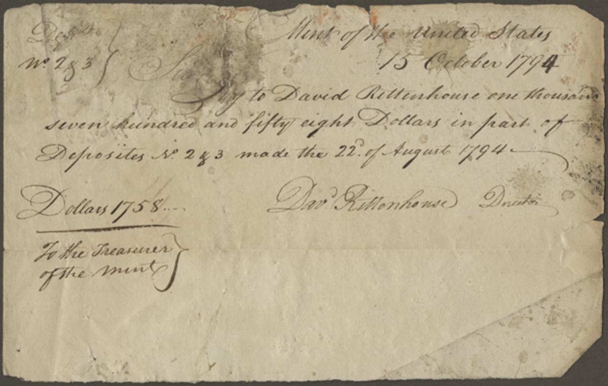 Figure 1 – Oct. 15, 1794: Partial Coin Return Warrant