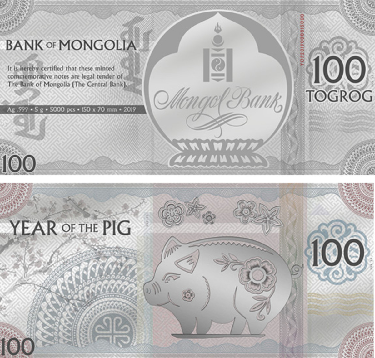 A flower-bedecked 'Jolly Silver Pig' features on Mongolbank's silver foil 100 togrog that celebrates the upcoming Year of the Earth Pig. (Images courtesy & © Coin Invest Trust)