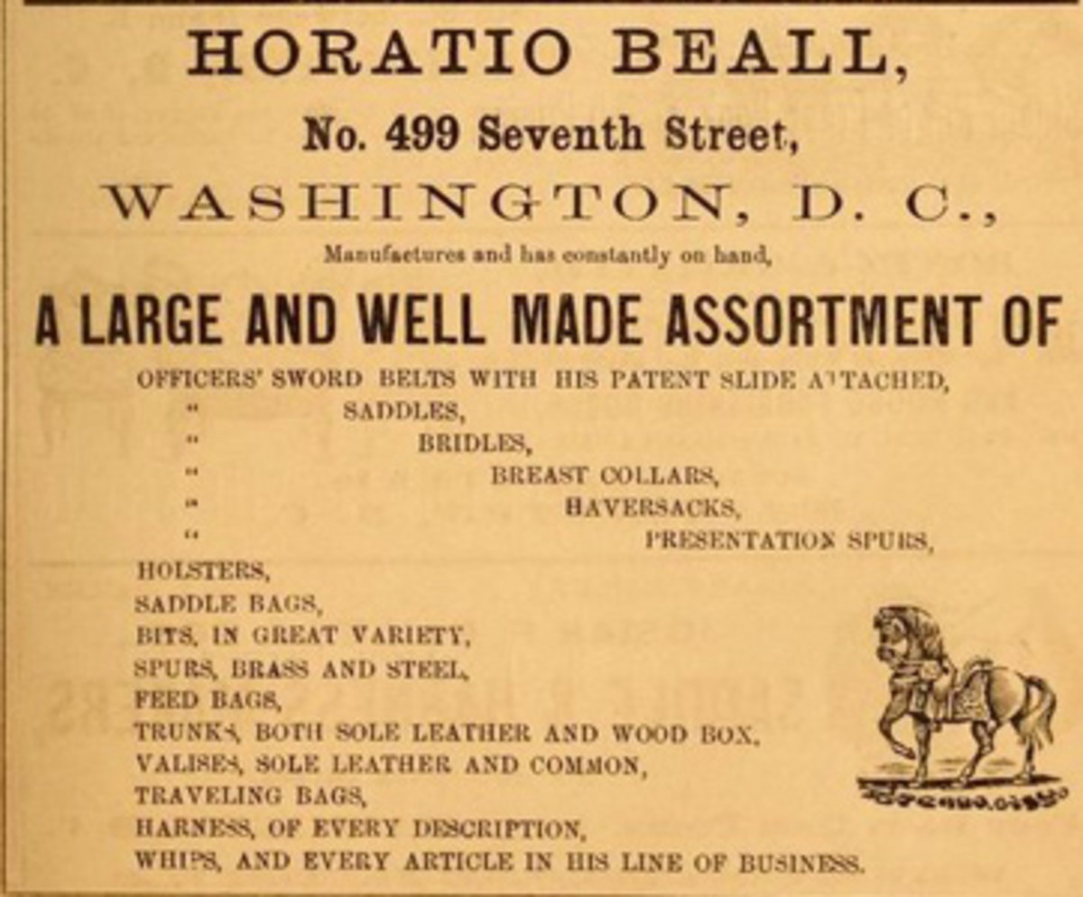 Figure 3. Horatio Beall's advertisement in the 1864 Washington City Directory.