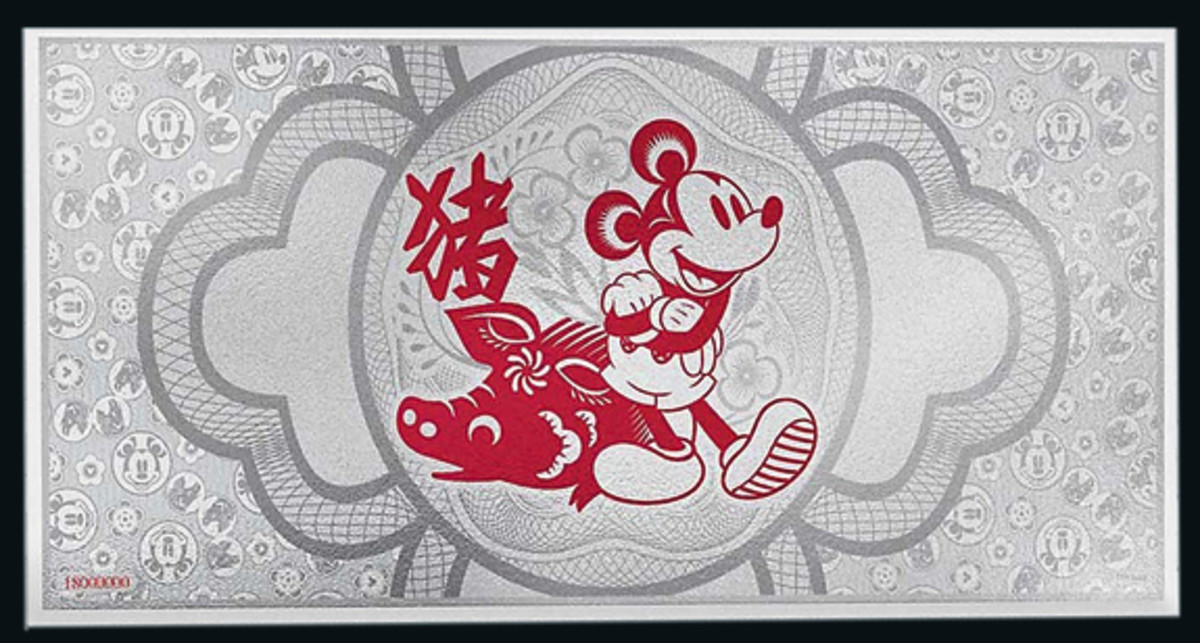 The back of Niue's 20 cents silver foil presents Mickey Mouse with a lunar pig. (Image courtesy John Mulhall ex New Zealand Mint)