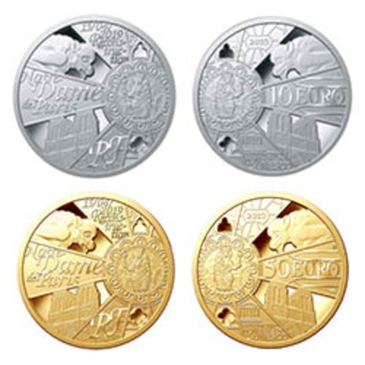 Silver €10 and gold €50 proof struck by Monnaie de Paris as part of the national effort to raise funds for the rebuild of Notre Dame Cathedral. The designs are based on the 2013 Notre Dame coins. Images courtesy Monnaie de Paris.