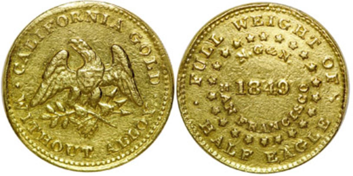 Lot 1074, $5 Norris, Gregg & Norris gold piece.