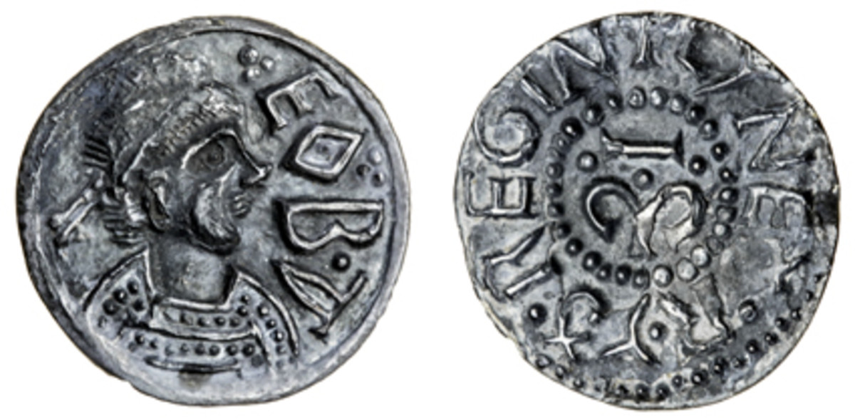 Extremely rare light coinage penny of Cynethrith, wife of Offa of Mercia (S-0909), made an easy $28,560 or double estimate in gVF. (Images courtesy and © Spink, London)