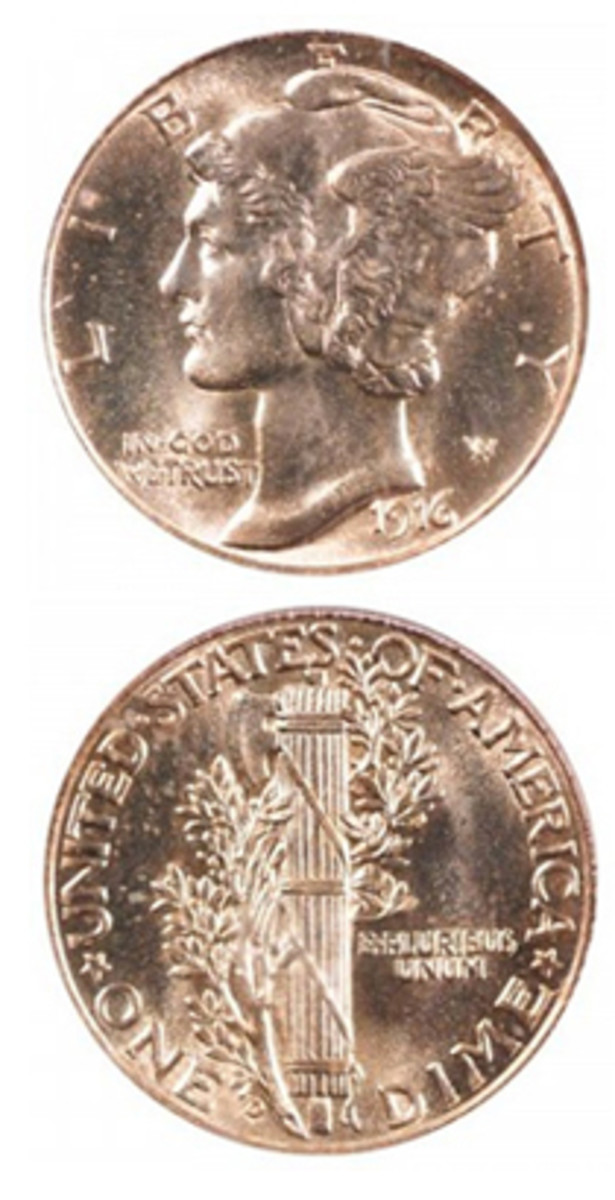 """The 1916-D Mercury dime with a mintage of just 264,000 is the key to the series. This has made it a target for counterfeiters. Adding a """"D"""" mintmark to a genine Philadelphia coin has been a popular scam. It pays to study what the real mintmark looks like and where it is placed. (Image courtesy www.usacoinbook.com)"""