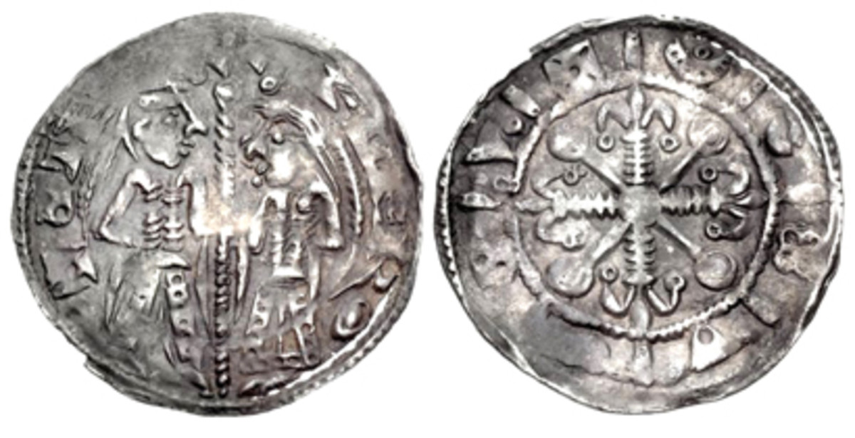 Once thought to show King Stephen and the Empress Matilda, this penny is now believed to represent King Stephen and his wife, Queen Matilda. (Classic Numismatic Group photo)