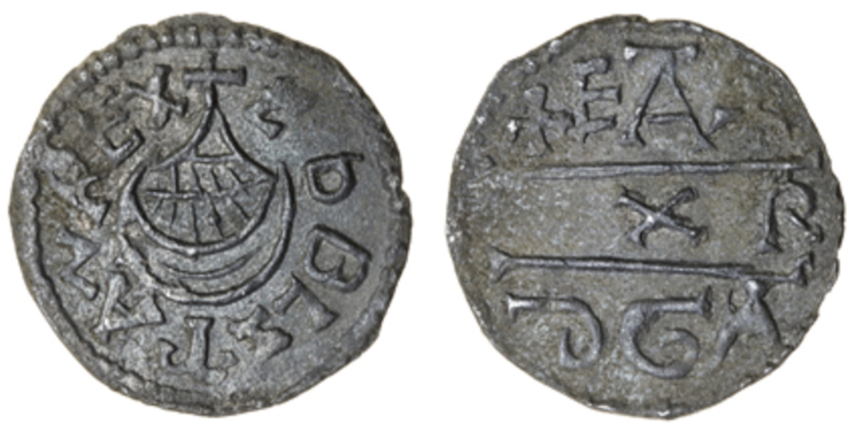 Star of the Show: unique East Anglian penny of Aethelstan I showing a ship obverse after the style of some contemporary Frankish deniers (S-0952A). In VF, it sold for $80,640 in Spink's sale of the Williams' collection in March. (Images courtesy and © Spink, London)